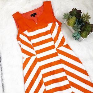 Spense orange and white striped sheath dress
